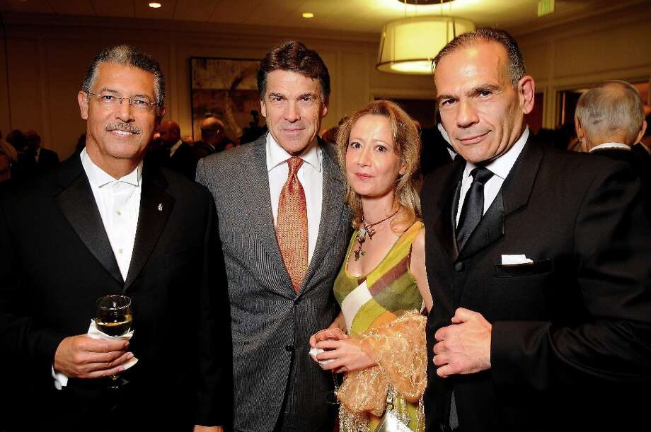 From left: Roberto Cervera, Governor Rick Perry, Rania Preventza and Roberto Canavati at the 50th Anniversary Celebration of the Texas Heart Institute at the Westin Galleria Tuesday Sept. 18,2012.(Dave Rossman/For the Chronicle) Photo: Dave Rossman, For The Houston Chronicle / © 2012 Dave Rossman