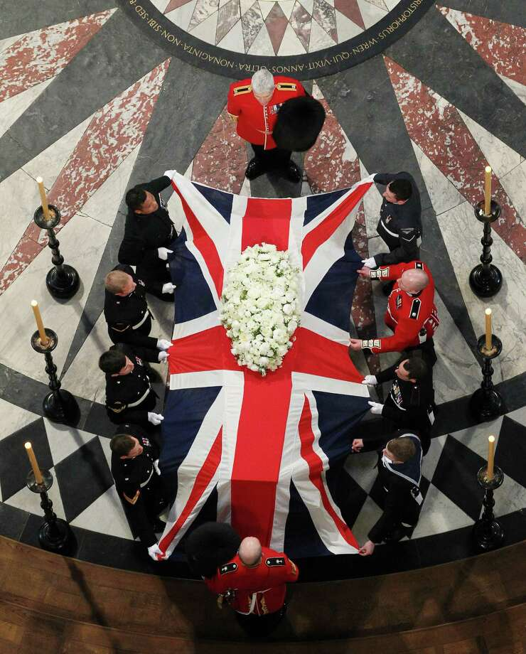 LONDON, UNITED KINGDOM - APRIL 17: The coffin bearing the body of Baroness Margaret Thatcher leaves St Paul's Cathedral on April 17, 2013 in London, England. Dignitaries from around the world today join Queen Elizabeth II and Prince Philip, Duke of Edinburgh as the United Kingdom pays tribute to former Prime Minister Baroness Thatcher during a Ceremonial funeral with military honours at St Paul's Cathedral. Lady Thatcher, who died last week, was the first British female Prime Minister and served from 1979 to 1990. Photo: WPA Pool, Getty Images / 2013 Getty Images