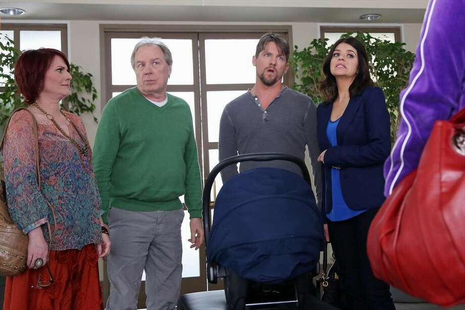 HAPPY ENDINGS: Penny's mom, Dana, and Dave's dad, Big Dave, are in town visiting, and they've decided to adopt a baby together in the first part of the season finale. 7 p.m. Friday, May 3 on ABC Photo: Richard Cartwright, ABC / © 2013 American Broadcasting Companies, Inc. All rights reserved.