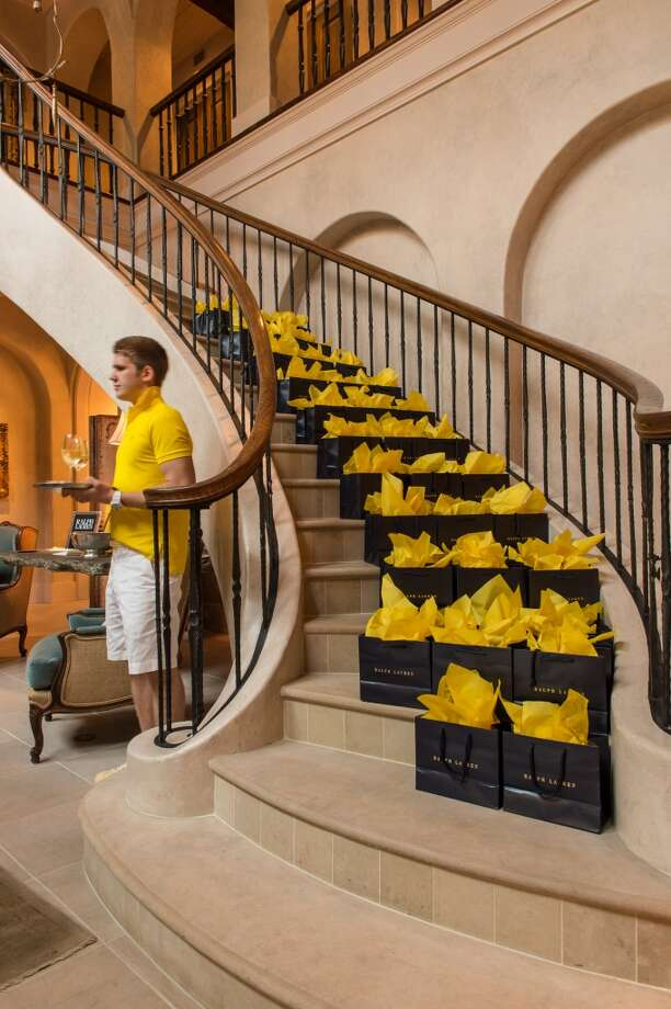 Ralph Lauren gift bags at the Holthouse home.