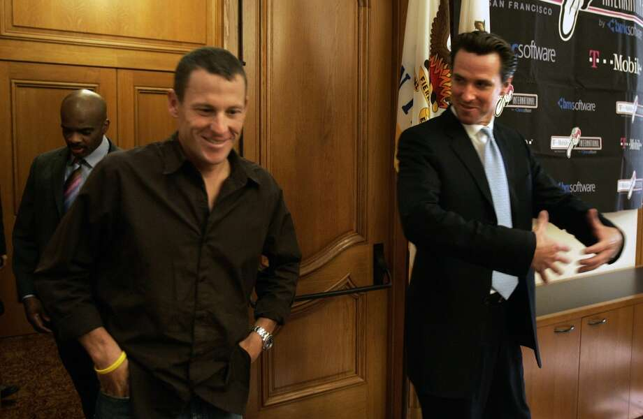 Lance Armstrong six-time winner of the Tour-De-France visited with Mayor Gavin Newsom at City Hall. The Mayor gave Armstrong a proclamation announcing Friday the 10th Lance Armstrong day, in advance of the pro bike race in which he is competing on Sunday in San Francisco.