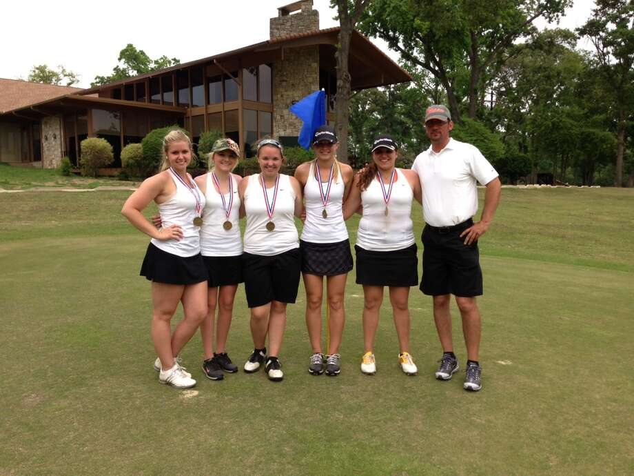 The Orangefield girls golf team, from left, Meagan Burton, Macy Hamilton, Ashton Gautreaux, Rylie Granger, Maggie Hebert, Coach Brandon Prouse. Orangefield finished third at the Class 3A Region III golf tournament on Tuesday, April 16 to advance to the 3A state tournament. Photo: Courtesy Of Orangefield HS