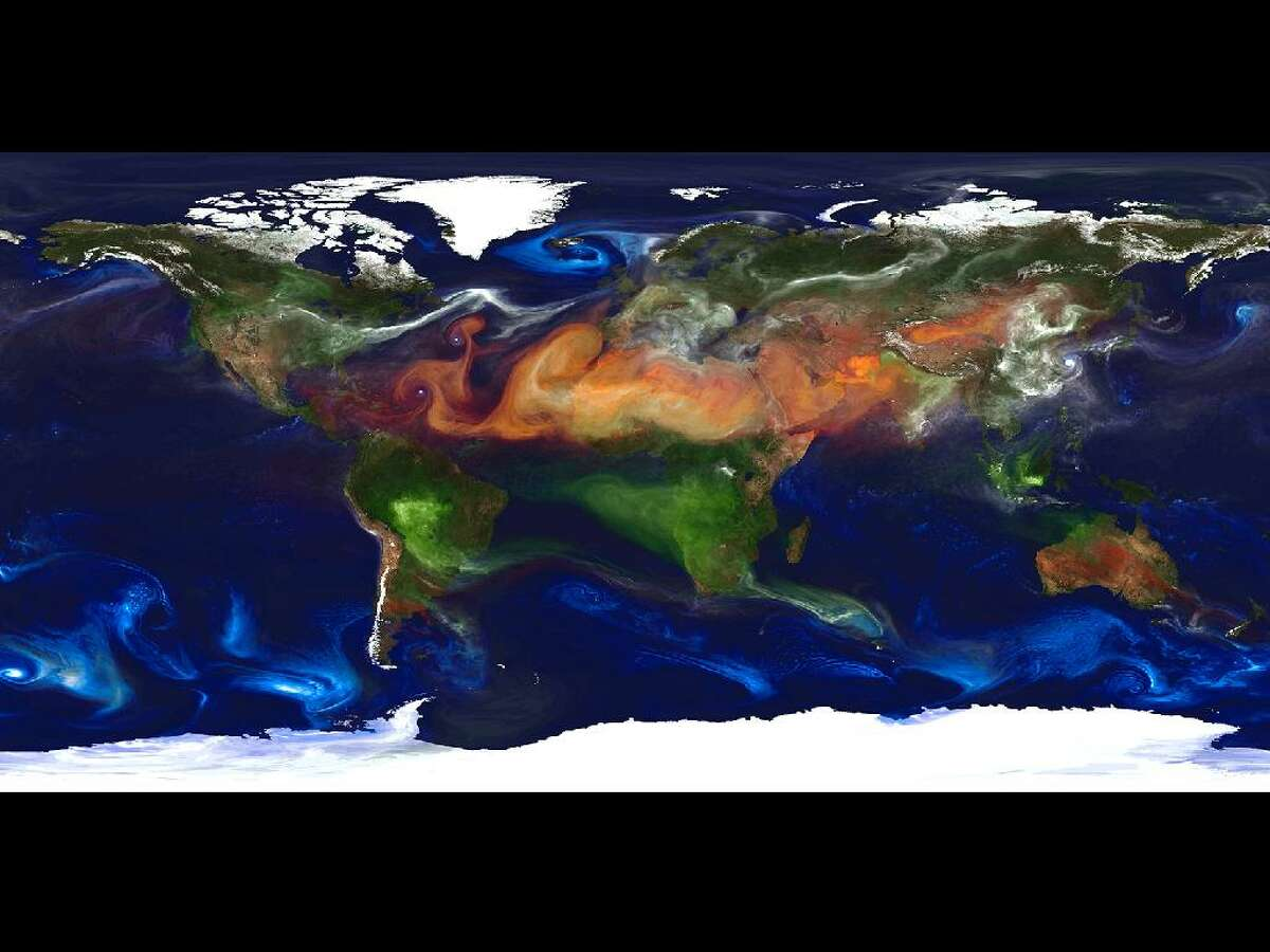 High-resolution global atmospheric modeling run on the Discover supercomputer at the NASA Center for Climate Simulation at Goddard Space Flight Center, Greenbelt, Md., provides a unique tool to study the role of weather in Earth's climate system. The Goddard Earth Observing System Model, Version 5 (GEOS-5) is capable of simulating worldwide weather at resolutions of 10 to 3.5 kilometers (km). This portrait of global aerosols was produced by a GEOS-5 simulation at a 10-kilometer resolution. Dust (red) is lifted from the surface, sea salt (blue) swirls inside cyclones, smoke (green) rises from fires, and sulfate particles (white) stream from volcanoes and fossil fuel emissions.
