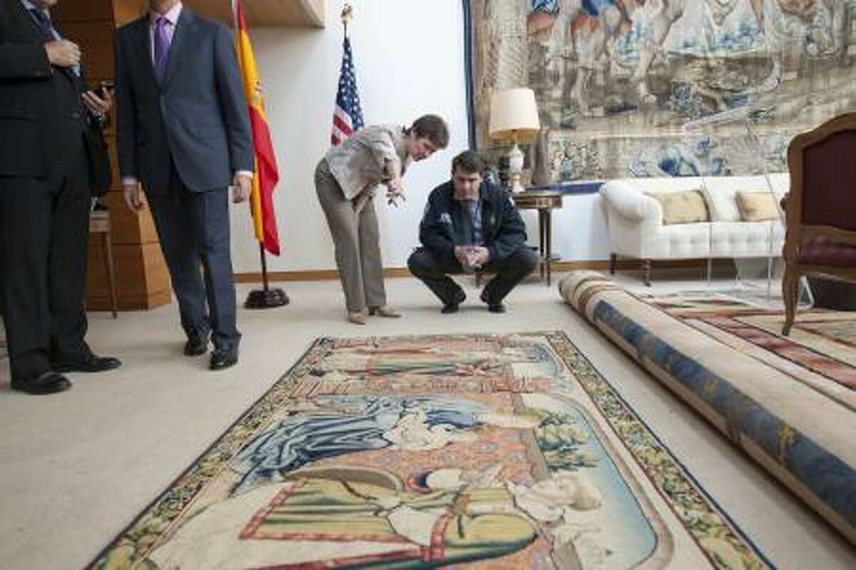 Immigration and Customs Enforcement personnel, return a 16th century tapestry, stolen from a Spanish national cathedral in 1979, to the people of Spain. The tapestry was seized by U.S. Immigration and Customs Enforcement's (ICE) Homeland Security Investigations (HSI) special agents in Houston.