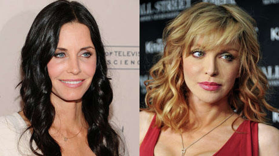 Courteney Cox is about a month older. She turned 49 in June and Courtney Love turned 49 in July.