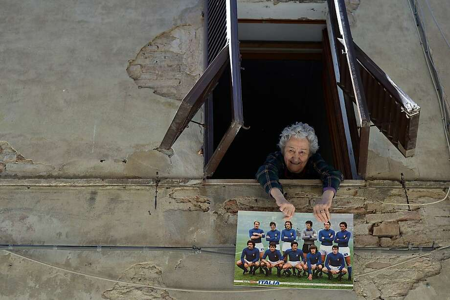 That's my boy:Mauro Bellugi was a member of the Italian national soccer team in the '70s, and his mother has never let her neighbors in Buonconvento, Tuscany, forget it. Photo: Gabriel Bouys, AFP/Getty Images