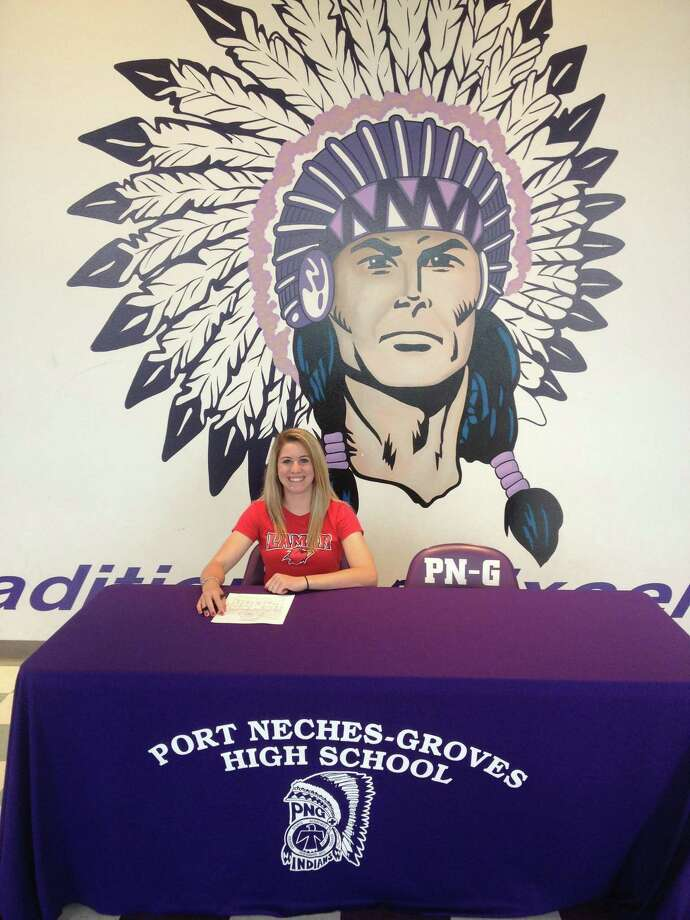 Port Neches-Groves goalkeeper Lauren Lovejoy after she signed her national letter of intent to play soccer at Lamar. The signing took place in the foyer of the PN-G gymnasium. Photo: David Berry