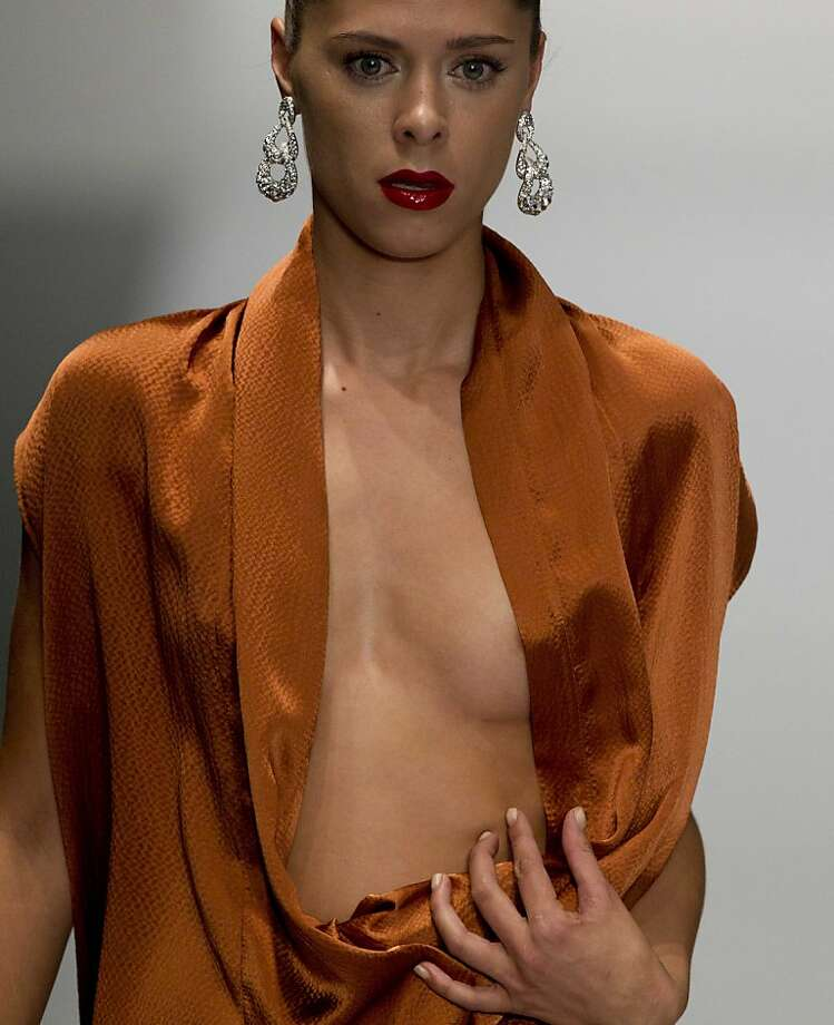 A daring look in Mexico City: Mercedes Benz Fashion Week Mexico really should give its models time to button up before rushing them out on the runway. (Design by Alejandro Carlin.) Photo: Eduardo Verdugo, Associated Press