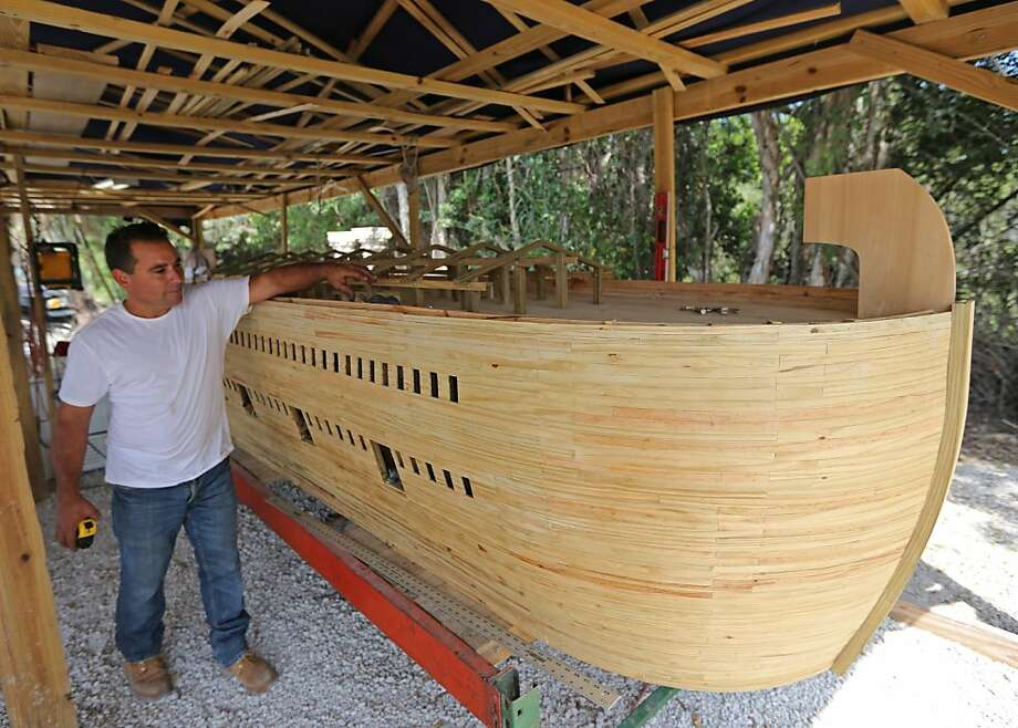 An ark to save all the world's creatures under four inches:Reniel Aguila and friends built a miniature Noah's Ark in Hialeah, Fla., which will be perfect in case it rains for only 20 days and 20 nights. For really big floods, however, the architect and his friends plan to construct a life-sized ark complete with a small zoo to raise awareness of climate change. Photo: Al Diaz, Associated Press