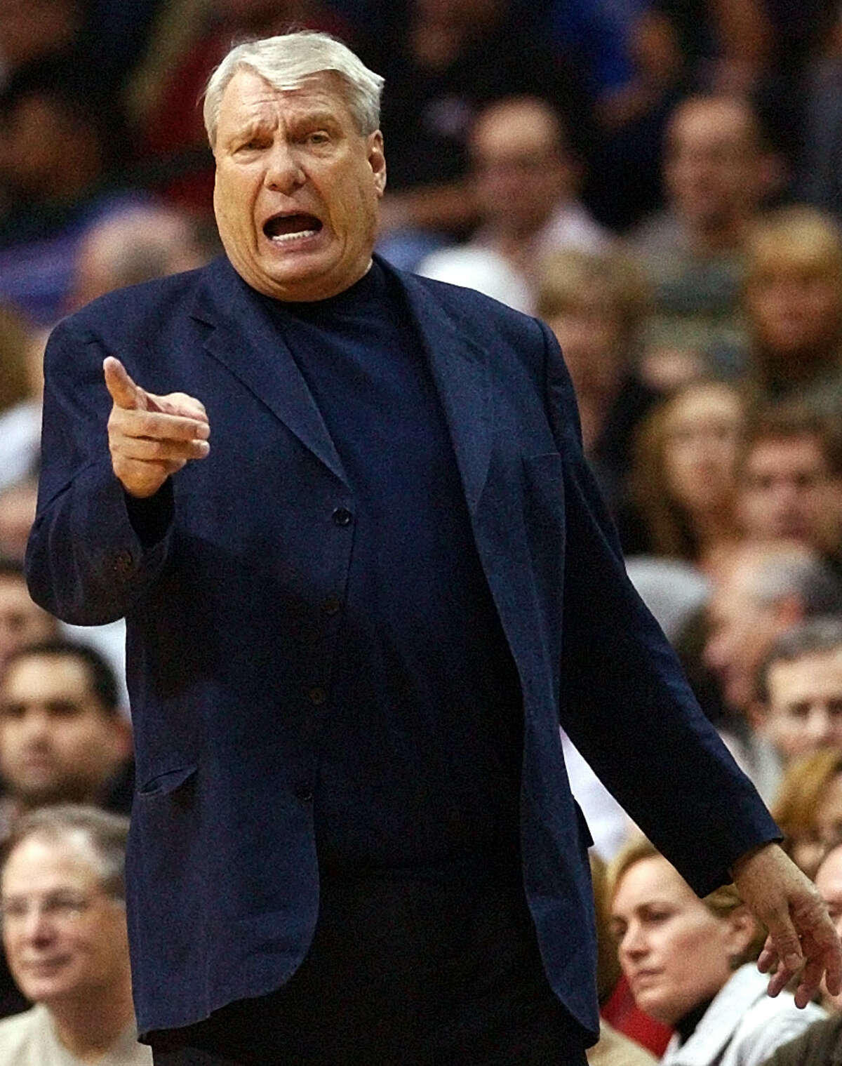 Dallas Mavericks head coach Don Nelson shouts directions during the first half against the Chicago Bulls in Dallas, in this Feb. 8, 2005 file photo. The Golden State Warriors will re-hire Nelson, the second-winningest coach in NBA history and the last coach to lead the downtrodden Warriors to the playoffs after coach Mike Montgomery was dismissed by the Warriors on Tuesday, Aug. 29, 2006. (AP Photo/LM Otero)