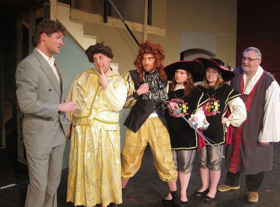 "Leo Clark (Conrad Browne Lorcher), Jack Gable (Brian Avery), Butch (Nick Casey), Audrey (Allison McArdle), Meg (Amanda Martini-Hughes), Doc (Patrick Leathem) in Home Made Theater's ""Leading Ladies,"" weekends through May 5, 2013. (Courtesy Home Made Theater)"