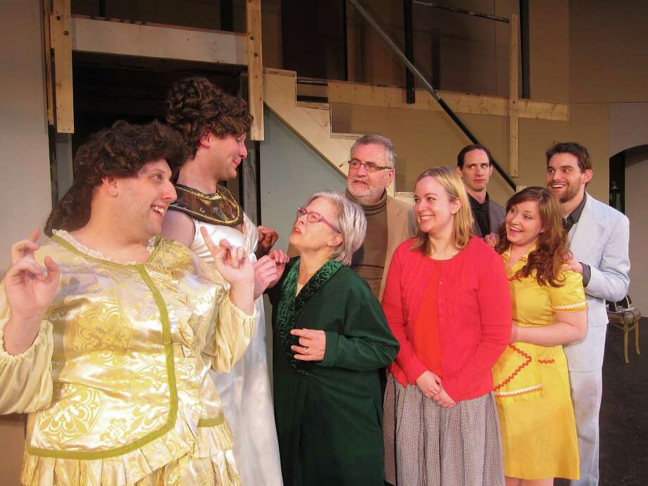 "Jack Gable (Brian Avery), Leo Clark (Conrad Browne Lorcher), Florence (Marilyn Detmer), Doc (Patrick Leathem), Meg (Amanda Martini-Hughes), Duncan (Matthew Crowley), Audrey (Allison McArdle), Butch (Nick Casey) in Home Made Theater's ""Leading Ladies,"" weekends through May 5, 2013. (Courtesy Home Made Theater)"