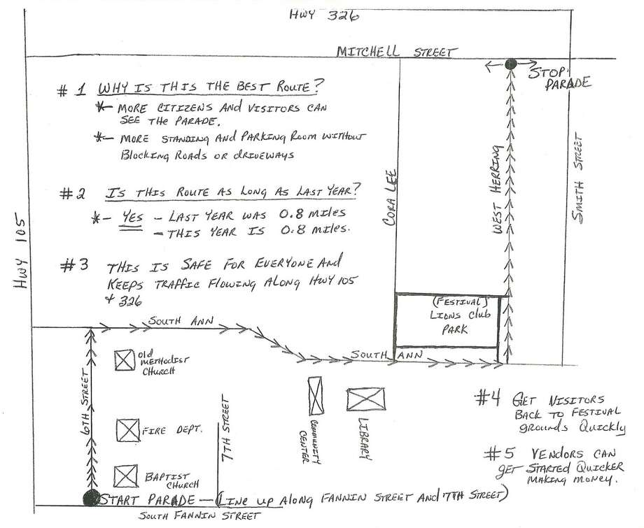 Map of the parade route Saturday at Olde Tyme Derrick Days in Sour Lake. Photo: Handout