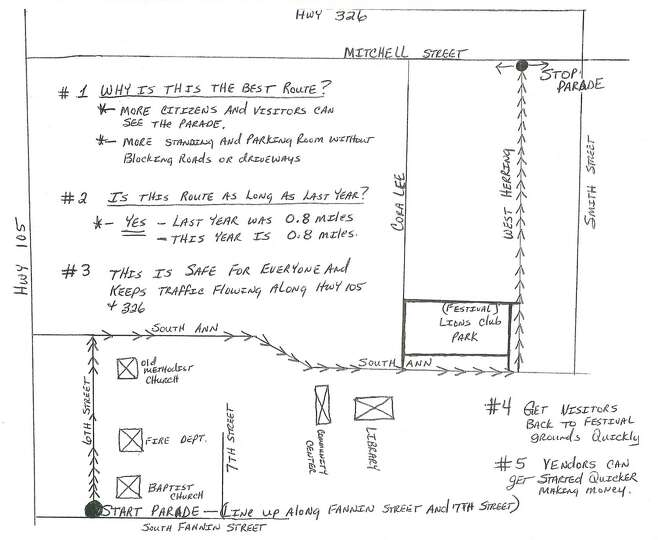 Map of the parade route Saturday at Olde Tyme Derrick Days in Sour Lake.