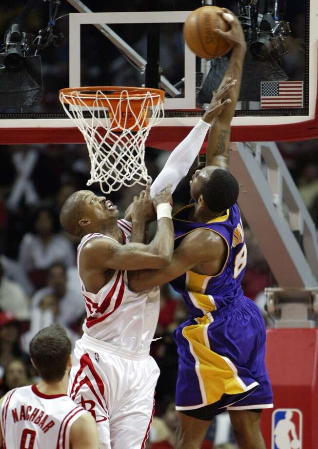 2004 Western Conference playoffs: First roundLed by the Kobe Bryant, the star-studded Lakers, which included Shaquille O'Neal, Karl Malone and Gary Payton, dispatched the Steve Francis, Yao Ming and the Rockets in five games. Photo: Houston Chronicle File Photo