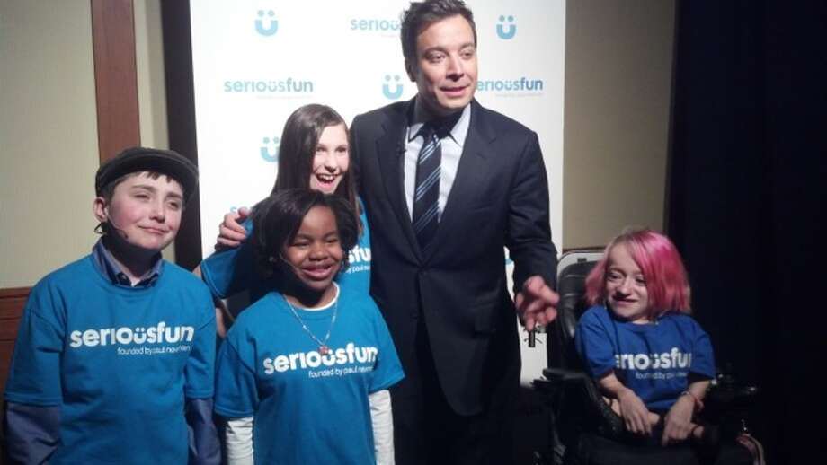 Albany resident Gabe Donovan (left) poses with Jimmy Fallon and fellow SeriousFun Children?s Network campers (from left): Austen, Round Up River Camp in Colorado; Alyssa, Hole in the Wall Gang Camp in Connecticut; and Chantel, Kamp Korey in Washington. (Eileen Nash)