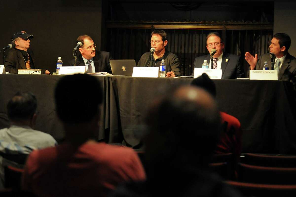 WAMC's Alan Chartock, left, moderates a public forum to address the issue of pedestrian safety in the Capital Region on Wednesday, April 17, 2013, at the Linda, WAMC?s Performing Arts Studio, in Albany, N.Y. Joining him, from left ,are Times Union reporter Tim O?Brien, architect and planner Jeff Olson, Colonie Police Chief Steven Heider and Robert Limoges of the New York State Department of Transportation. (Cindy Schultz / Times Union)
