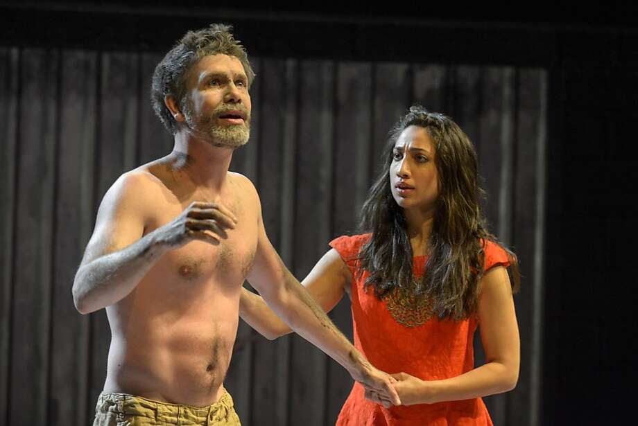 An infirm Pericles (David Barlow) worries young Marina (Annapurna Sriram) in an engagingly goofy production. Photo: Mellopix.com