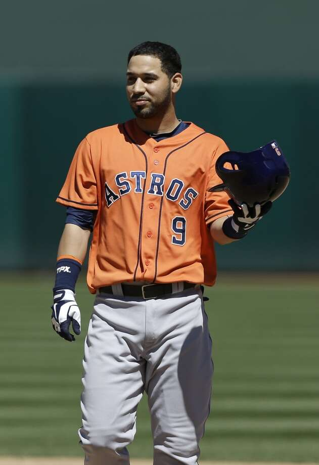 Marwin Gonzalez of the Astros reacts after flying out during the fifth inning.