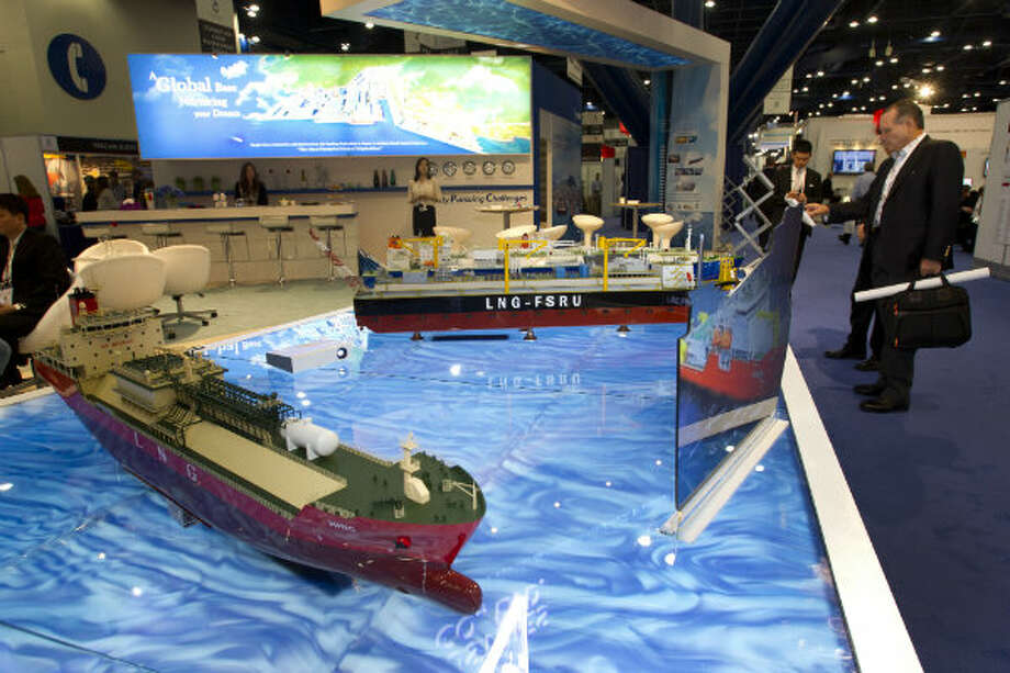 Models of LNG ships are on display at the Hanjin Heavy Industries & Construction Co., LTD., booth during the 17th International Conference & Exhibition on Liquefied Natural Gas at the George R. Brown Convention Center Wednesday, April 17, 2013, in Houston. Photo: Brett Coomer, Houston Chronicle