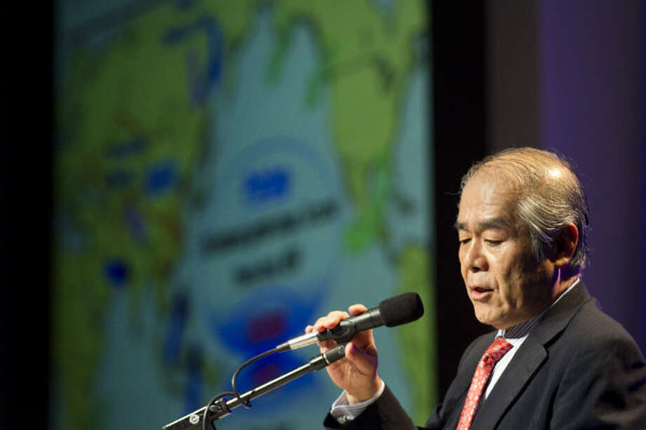 Shigeru Muraki, Tokyo Gas, speaks during a panel discussion on the role of LNG in growing global gas demand during the 17th International Conference & Exhibition on Liquefied Natural Gas at the George R. Brown Convention Center Wednesday, April 17, 2013, in Houston. Photo: Brett Coomer, Houston Chronicle