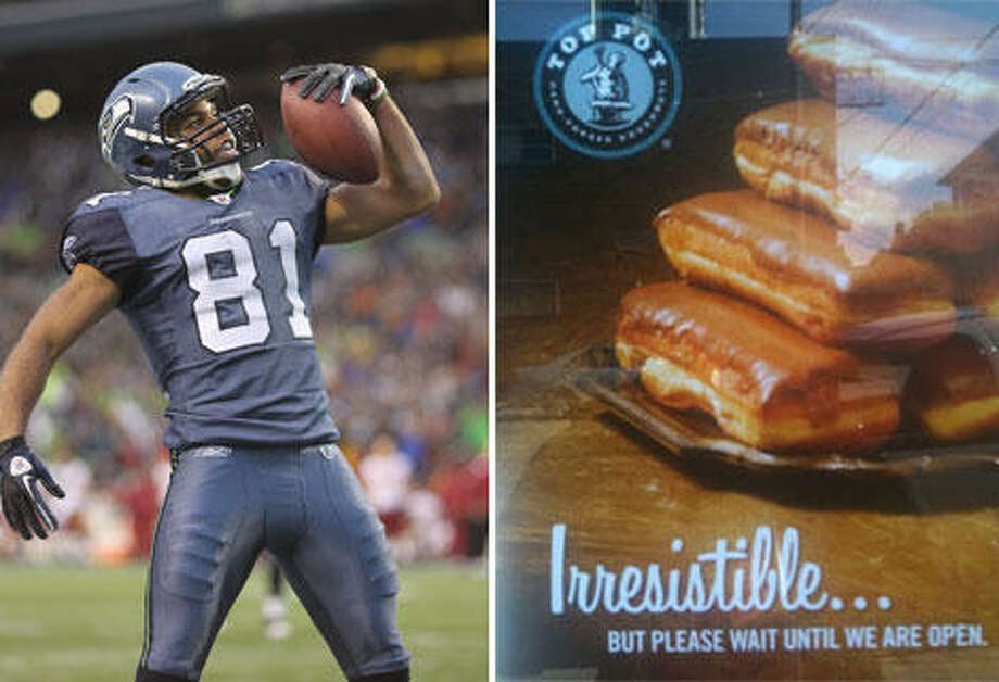 Sometimes, promotion happens when you don't expect it. After Seahawks rookie Golden Tate was arrested for stealing maple bars from a Bellevue Top Pot during a 3 a.m. craving, maple bars sold out, and Top Pot released this ad. Photos by Getty Images (left) and Jon Ferrari (right).
