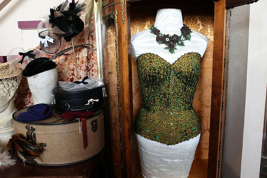 A finished $4,000 peacock corset. Photo: Liz Hafalia, The Chronicle