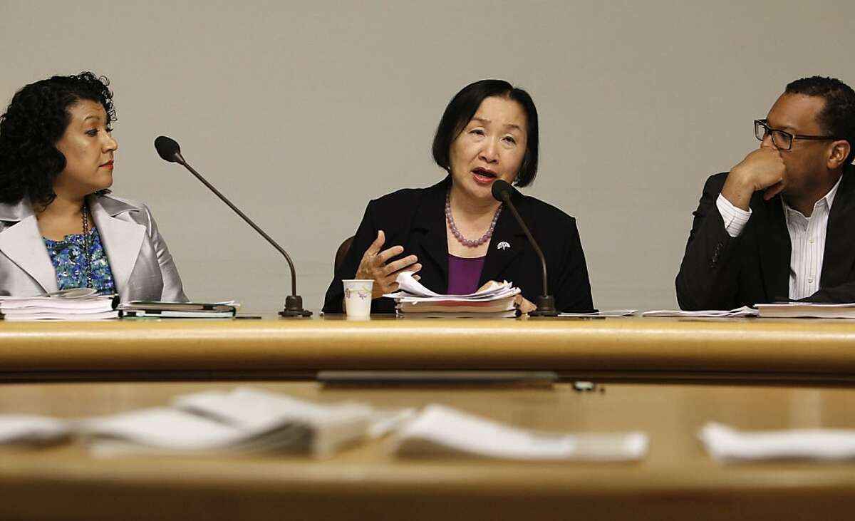 Oakland City Administrator, Deanne Santana, (left) Mayor Jean Quan and Assistant city manager, Fred Blackwell give details of their budget proposal for the City of Oakland, during a press conference at City Hall in downtown Oakland, Ca. on Wednesday April 18, 2013.