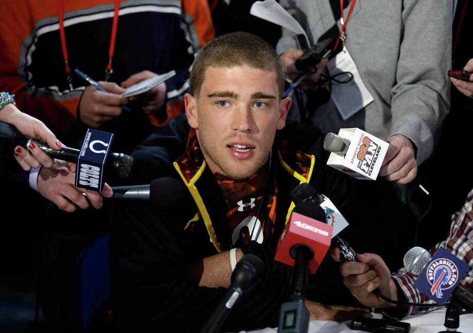 Stanford tight end Zach Ertz answers a question during a news conference at the NFL football scouting combine in Indianapolis, Thursday, Feb. 21, 2013. (AP Photo/Michael Conroy) Photo: Michael Conroy, STF / AP