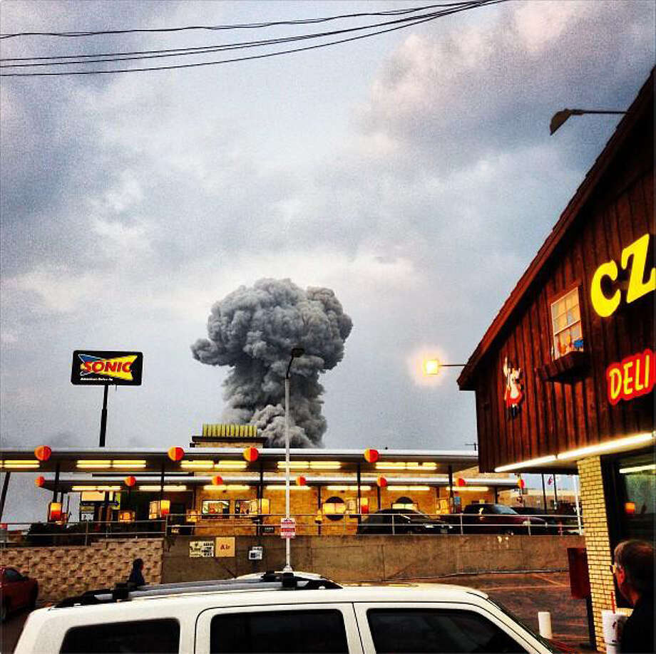 This photo from andybartee's Instagram shows a large plume of smoke emitted after fertilizer plant exploded in West, Texas, about 20 miles north of Waco. It's taken from the popular Czech Stop convenience station. (andybartee/Instagram)