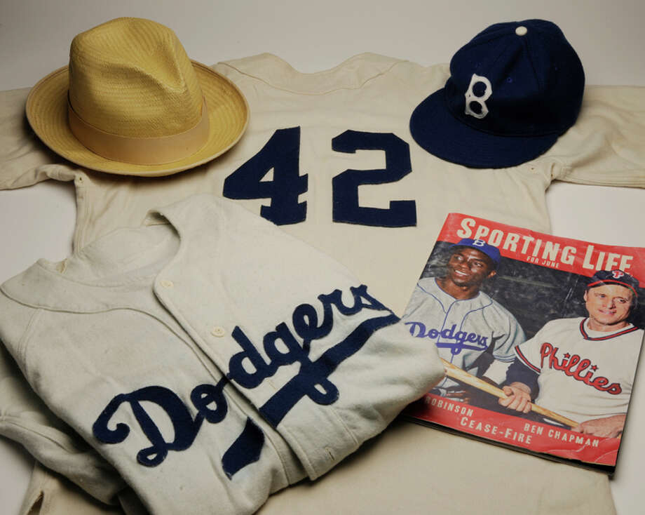 "The National Baseball Hall of Fame has received several artifacts from the movie ""42,"" including a jersey and hat. (Courtesy Baseball Hall of Fame)"