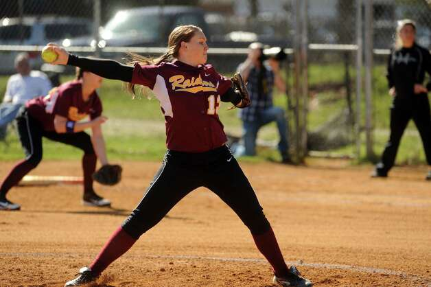 Colonie's Kelly Lane pitches during their high school girl's softball game against Shenendehowa on Wednesday April 17, 2013 in Colonie, N.Y. (Michael P. Farrell/Times Union) Photo: Michael P. Farrell