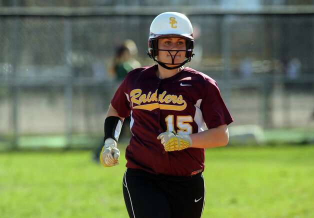 Colonie's Kassidy Ogren rounds the bases after hitting a home run during their high school girl's softball game against Shenendehowa on Wednesday April 17, 2013 in Colonie, N.Y. (Michael P. Farrell/Times Union) Photo: Michael P. Farrell