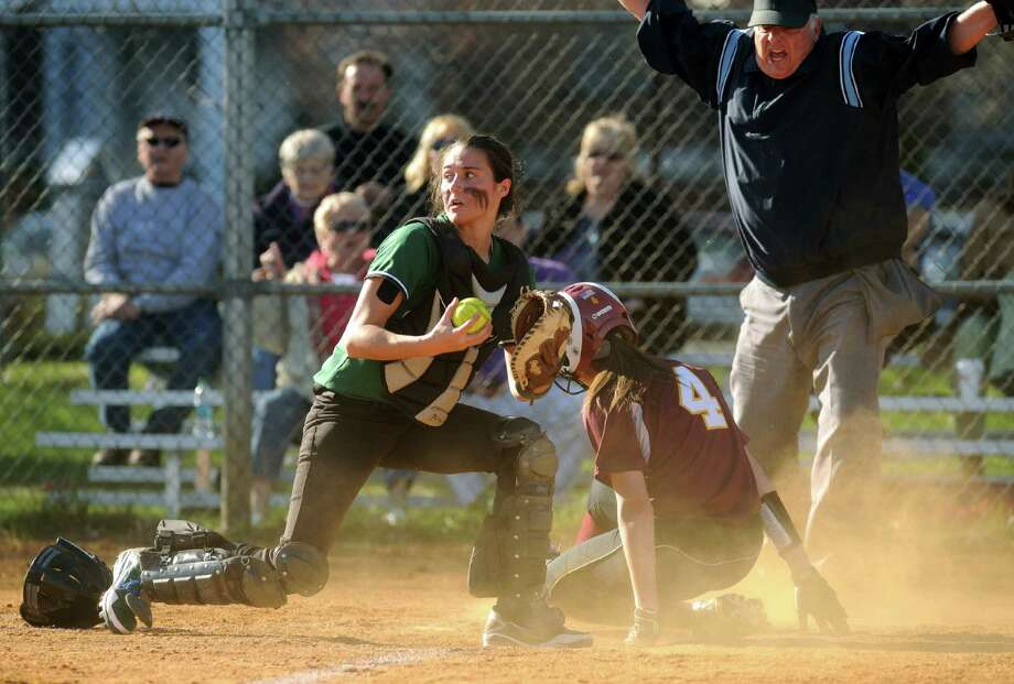 Colonie's Samantha Blum slides into home safe beating the tag by Shen's Caitlin Lawson during their high school girl's softball game on Wednesday April 17, 2013 in Colonie, N.Y. (Michael P. Farrell/Times Union) Photo: Michael P. Farrell