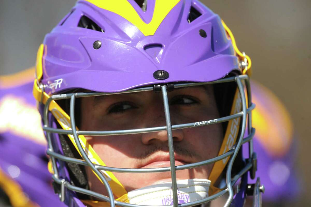 UAlbany men's lacrosse goalkeeper Blaze Riorden, a freshman who has helped the Great Danes reach the No. 10 ranking in the country, during practice on Wednesday April 17, 2013 in Albany, N.Y. (Michael P. Farrell/Times Union)