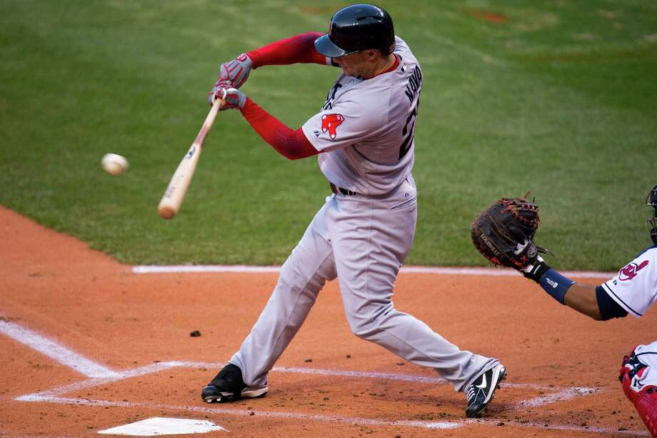 CLEVELAND, OH - APRIL 17:  Daniel Nava #29 of the Boston Red Sox hits an RBI single during the first inning against the Cleveland Indians at Progressive Field on April 17, 2013 in Cleveland, Ohio.   (Photo by Jason Miller/Getty Images) Photo: Jason Miller