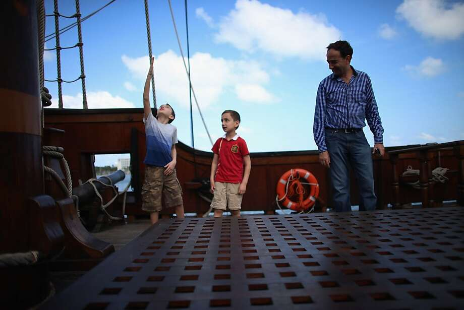 MIAMI, FL - APRIL 17:  Manuel Tabares, Alex Tabares and their father Manuel Tabares explore El Galeón, a replica of a 16th century galleon, during Florida's commemoration of the 500th anniversary of Spanish explorer Juan Ponce de Leon's arrival on the shores of Florida on April 17, 2013 in Miami, Florida. The boat will remain in Miami until April 28, after which it continues North along Florida's east coast and stops along the way in Fort Lauderdale, Cape Canaveral,  and St. Augustine.  (Photo by Joe Raedle/Getty Images) Photo: Joe Raedle, Getty Images