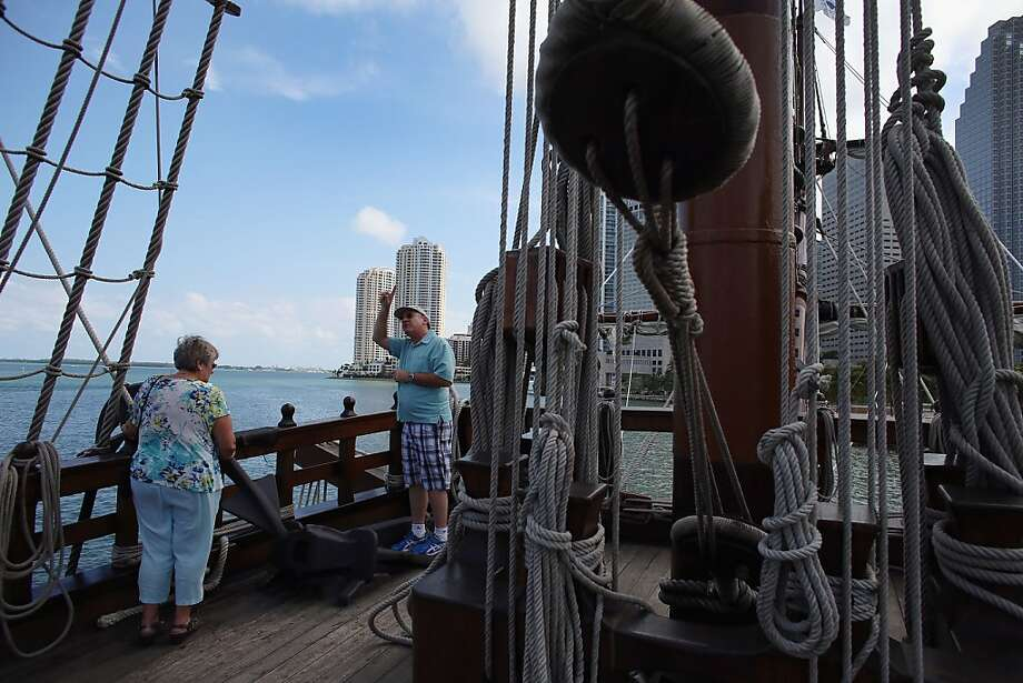 MIAMI, FL - APRIL 17:  Gail Cheever and Dennis Cheever explore El Galeón, a replica of a 16th century galleon, during Florida's commemoration of the 500th anniversary of Spanish explorer Juan Ponce de Leon's arrival on the shores of Florida on April 17, 2013 in Miami, Florida. The boat will remain in Miami until April 28, after which it continues North along Florida's east coast and stops along the way in Fort Lauderdale, Cape Canaveral,  and St. Augustine.  (Photo by Joe Raedle/Getty Images) Photo: Joe Raedle, Getty Images