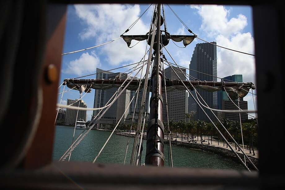 MIAMI, FL - APRIL 17:  The masts of El Galeón on the replica of a 16th century galleon during Florida's commemoration of the 500th anniversary of Spanish explorer Juan Ponce de Leon's arrival on the shores of Florida on April 17, 2013 in Miami, Florida. The boat will remain in Miami until April 28, after which it continues North along Florida's east coast and stops along the way in Fort Lauderdale, Cape Canaveral,  and St. Augustine.  (Photo by Joe Raedle/Getty Images) Photo: Joe Raedle, Getty Images