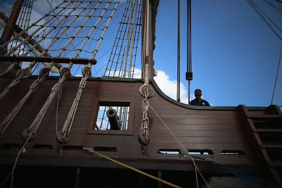 MIAMI, FL - APRIL 17:  Crew member Juanj Martin works aboard El Galeón, a replica of a 16th century galleon, during Florida's commemoration of the 500th anniversary of Spanish explorer Juan Ponce de Leon's arrival on the shores of Florida on April 17, 2013 in Miami, Florida. The boat will remain in Miami until April 28, after which it continues North along Florida's east coast and stops along the way in Fort Lauderdale, Cape Canaveral,  and St. Augustine.  (Photo by Joe Raedle/Getty Images) Photo: Joe Raedle, Getty Images