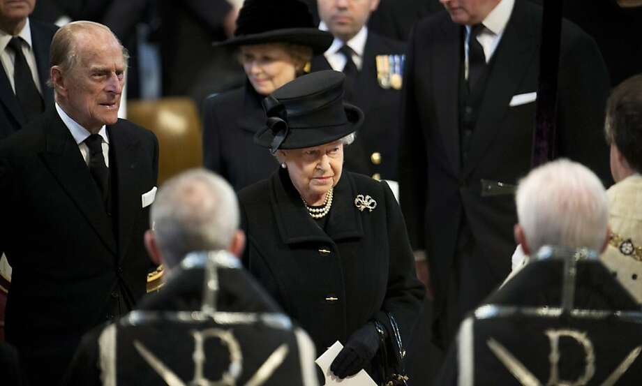 LONDON, UNITED KINGDOM - APRIL 17: Prince Phillip, Duke of Edinburgh and Queen Elizabeth II attend the funeral of Baroness Margaret Thatcher at St Paul's Cathedral on April 17, 2013 in London, England. Dignitaries from around the world today join Queen Elizabeth II and Prince Philip, Duke of Edinburgh as the United Kingdom pays tribute to former Prime Minister Baroness Thatcher during a Ceremonial funeral with military honours at St Paul's Cathedral. Lady Thatcher, who died last week, was the first British female Prime Minister and served from 1979 to 1990. (Photo by Paul Edwards - WPA Pool/Getty Images) Photo: WPA Pool, Getty Images