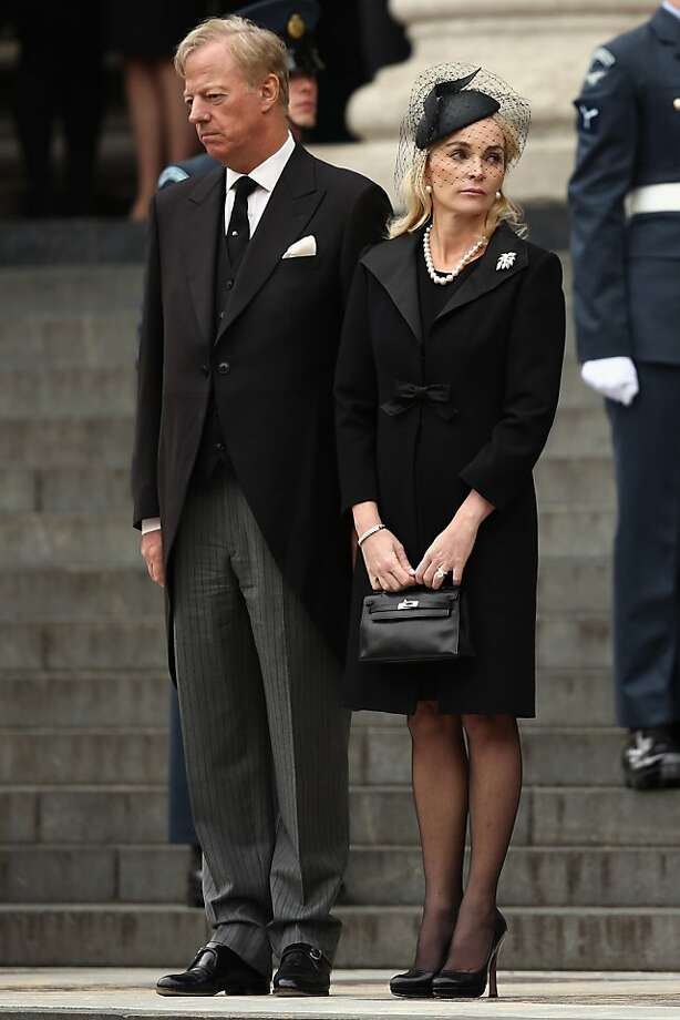 LONDON, ENGLAND - APRIL 17:  Mark Thatcher and Sarah Thatcher depart St Paul's Cathedral after the Ceremonial funeral of former British Prime Minister Baroness Thatcher on April 17, 2013 in London, England. Dignitaries from around the world today join Queen Elizabeth II and Prince Philip, Duke of Edinburgh as the United Kingdom pays tribute to former Prime Minister Baroness Thatcher during a Ceremonial funeral with military honours at St Paul's Cathedral. Lady Thatcher, who died last week, was the first British female Prime Minister and served from 1979 to 1990.  (Photo by Dan Kitwood/Getty Images) Photo: Dan Kitwood, Getty Images