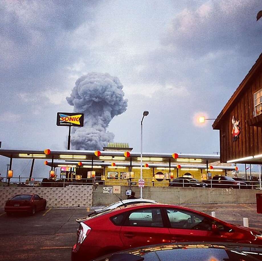 Deadly blast:An Instagram photo shows a plume of smoke rising from a fertilizer plant in West, Texas. An explosion and fire at the plant near Waco killed or injured dozens of people and sent flames shooting high into the night sky. Photo: Andy Bartee, Associated Press