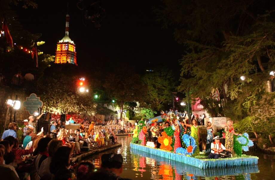 Texas Cavaliers River Parade:The first of three major parades takes place on the River Walk on Monday night. Ticket holders take their seats on the river banks or at restaurants along the River Walk. Those without a ticket line downtown's bridges. The best place for non-ticket holders is Saint Mary's Catholic Church, 202 N. St. Mary's St.; there the church holds a festival which is free and open to the public.