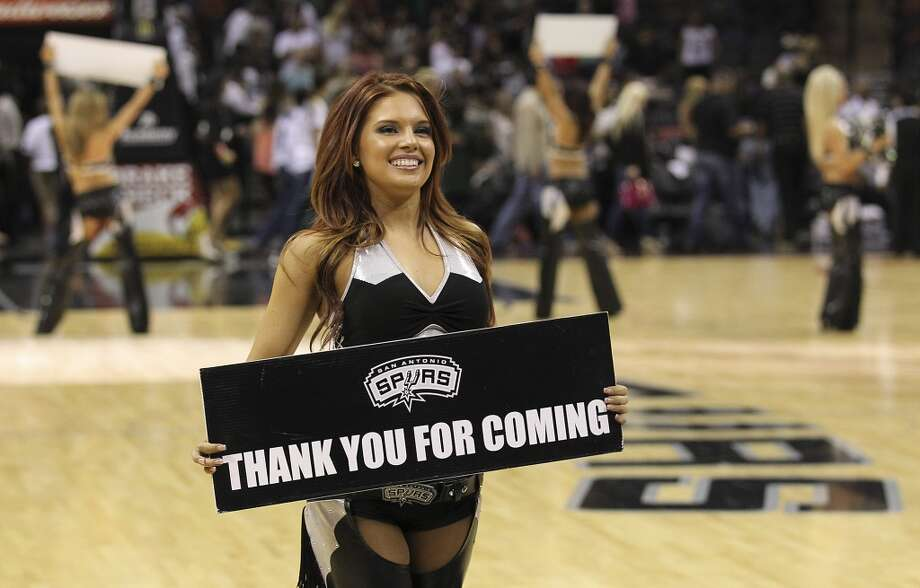 The Spurs\' Silver Dancers show their appreciation to the fans at the end of the game against the Minnesota Timberwolves at the AT&T Center on Wednesday, April 17, 2013. Timberwolves defeated the Spurs, 108-95.
