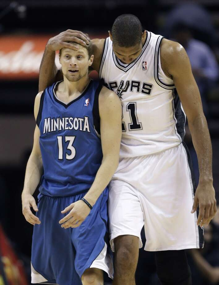 The Spurs\' Tim Duncan (right) hugs the Minnesota Timberwolves\' Luke Ridnour (13) after fouling him during the second half on Wednesday, April 17, 2013, at the AT&T Center. Minnesota won 108-95.