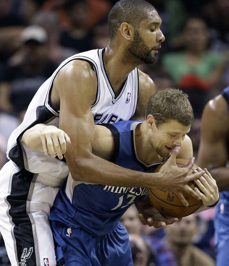 The Minnesota Timberwolves\' Luke Ridnour (right) is fouled by the Spurs\' Tim Duncan during the second half on Wednesday, April 17, 2013, at the AT&T Center. Minnesota won 108-95.
