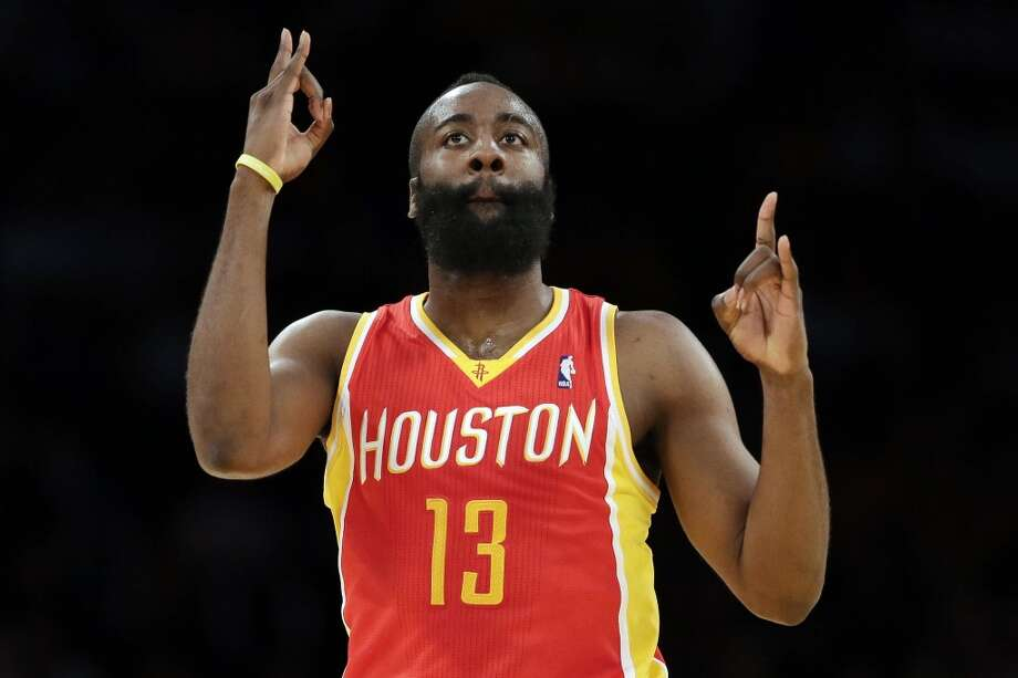 James Harden of the Rockets reacts to a made 3-pointer.