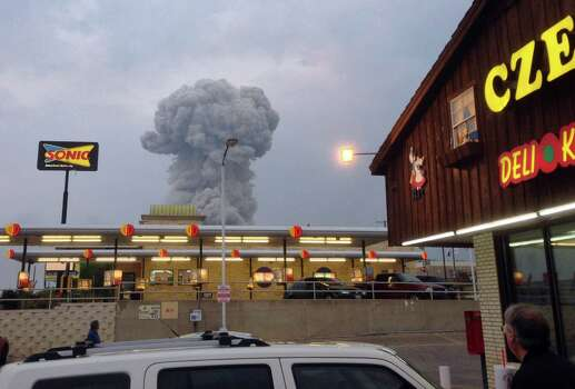 A mushroom cloud of smoke rising from an explosion at a fertilizer plant in West could be seen from the Czech Stop.Related article: 5 to 15 people killed in Texas explosion  Photo: Andy Bartee