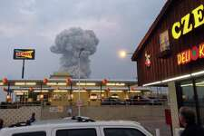 A mushroom cloud of smoke rising from an explosion at a fertilizer plant in West could be seen from the Czech Stop.
